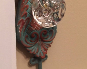 Mint Green Hook, Decorative Wall Decor, Glass Knob Hook, Wall Hook, Shabby Chic Wall Hanger