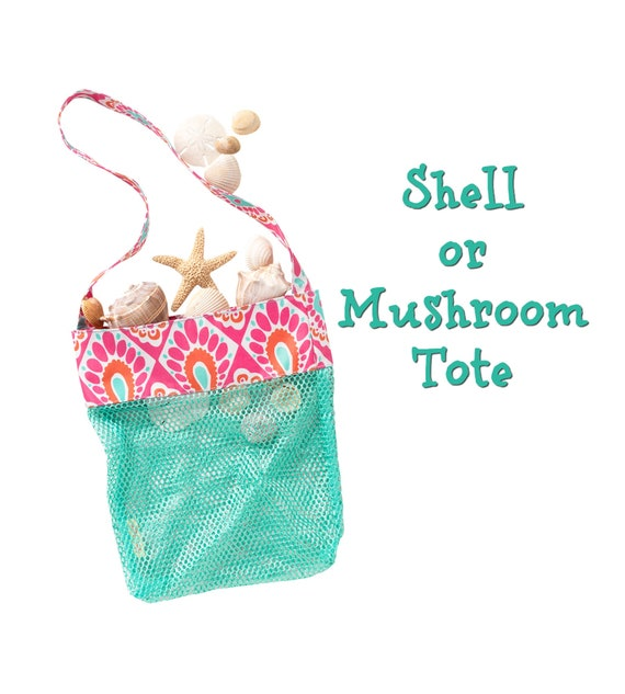 Shell or Mushroom Tote in Pink and Orange with Mint Green