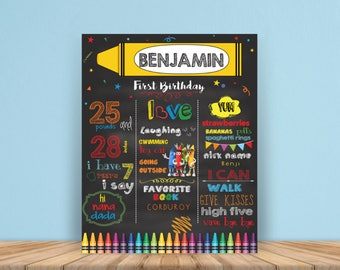 Crayon digital Chalkboard Sign, First Birthday Chalkboard, Crayons Chalkboard, crayola Birthday