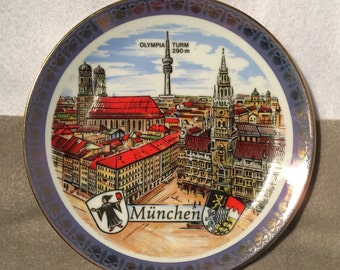 """Hand-Painted Munich and Olympia Tower Collectible Souvenir Plate """"München Olympia Turm"""""""
