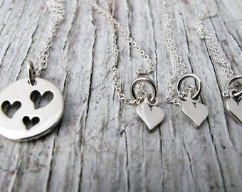 Mother Daughter Jewelry, 3 Heart Cutout Necklace with Tiny Heart Necklaces,  I carry your heart with me, Sterling Silver, Mother's Day Gift