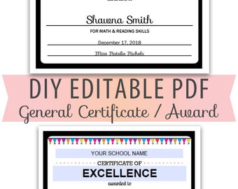 Editable PDF Kids Children Student Teacher Classroom Certificate Award editable Title School Name Letter Size Template Rainbow Colors