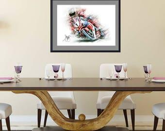Motorcycle art IOM TT Legend John Mcguinness Fine Art Print