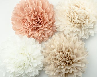 Paper flowers etsy neutral theme poms paper flower flower balls wedding decoration decoration paper mightylinksfo Choice Image