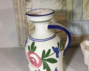 "Majolica Wine Pitcher Floral Ewer 9"" Italy"