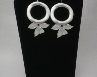 Brushed Silver Loops and Flower Petals