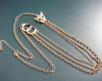 Long Vintage Clear & Green Glass Rhinestone Panther Cat Head Double Links Necklace