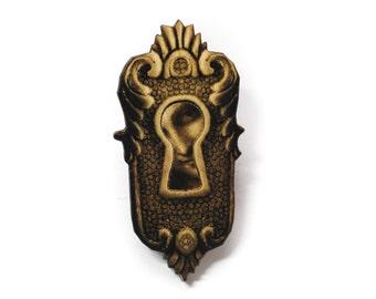SALE Steampunk Antique Keyhole Wooden Brooch Pin