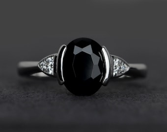 natural black spinel ring silver oval cut black rings bezel setting gemstone rings