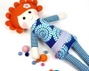 soft jersey doll | Cleo snuggle doll | blue knit cloth doll | girl rag doll | handmade doll | girl fabric doll