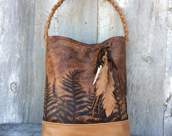 Woodland Leather Shoulder Bag / Fern Leather / Rustic Hobo / with Leather Feathers by Stacy Leigh