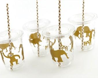 Safari Party Cups - Safari Baby Shower, Jungle Baby Shower, Jungle Safari, Safari Birthday, Zoo Party, Gold Safari, Jungle Birthday Party