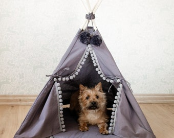 Handmade dog bed, pet bed, cat bed, dog teepee, cat tipi with base, pad, pet tipi with 4 poles, pet teepee, wigwam, grey color, 100% cotton