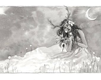 Inktober 2 - in dream the night - night dream - ink ink - painting drawing painting drawing