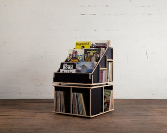 Black Vinyl Record Album Storage Shelf bin LP or holder. No tools required to assemble. Hi Phile Record Cabinets. Contact for Shipping!