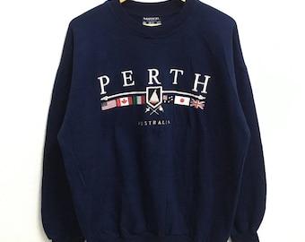RARE!!! Perth Australia Big Logo Embroidery SpellOut Crew Neck Dark Blue Colour Sweatshirts Hip Hop Swag M-L Size