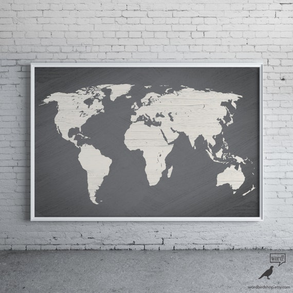 Gray world map poster large world map print modern home like this item gumiabroncs Image collections