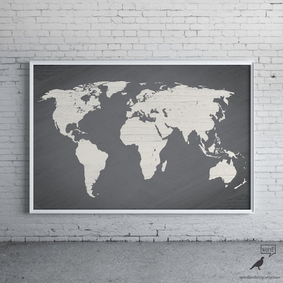 Gray world map poster large world map print modern home te gusta este artculo gumiabroncs