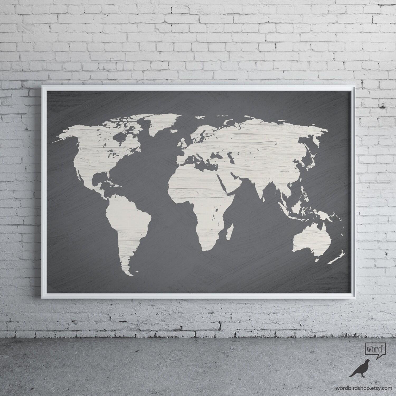 Gray World Map Poster Large World Map Print Modern Home - Modern world map