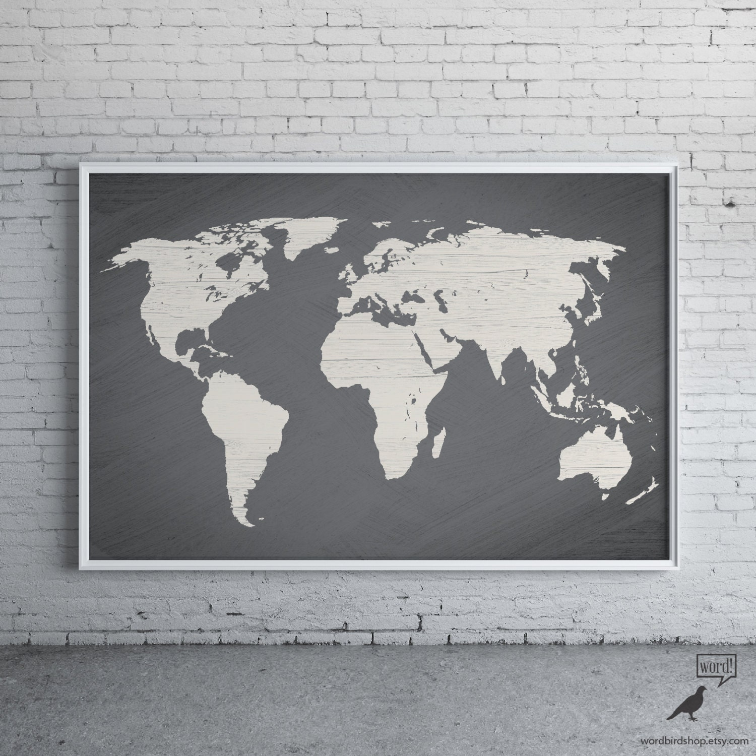 Gray world map poster large world map print modern home zoom gumiabroncs Image collections