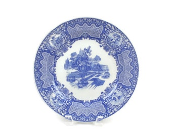 Spode Blue & White Plate, Blue Room Collection, Transferware Plate, SEASONS June Pattern, c1990s, Vintage China Plates