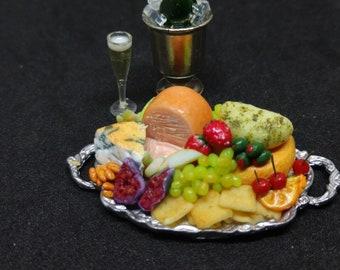 1:12 Fruit & Cheese Tray dollhouse miniatures