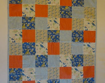 Patchwork Baby Blanket, Blue and Coral. Perfect for pram, cot or car seat