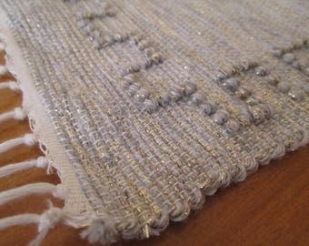 Handmade woven table runner | Silver table runner | Home decor | Kitchen decor |