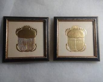 2 Vintage Egyptian Scarab Beatle framed lithogtaphs