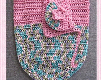 Baby Girl Cocoon Wrap with Beanie, Christening Gift, Baby Shower Gift, Pink with Pastel  Colors of Purple, Blue, and Green