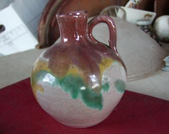 Glazed multicolored Art Pottery Vase