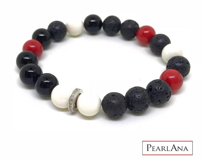 Black, red and white diamond bracelet