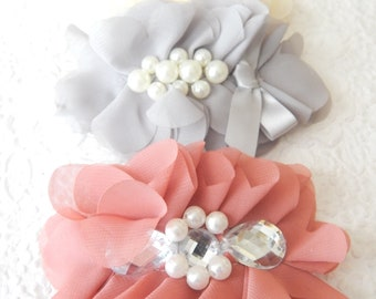 Chiffon hair barrette,  floaty bridal  ponytail clip, accessory for thick hair, pearl bridal hair accent