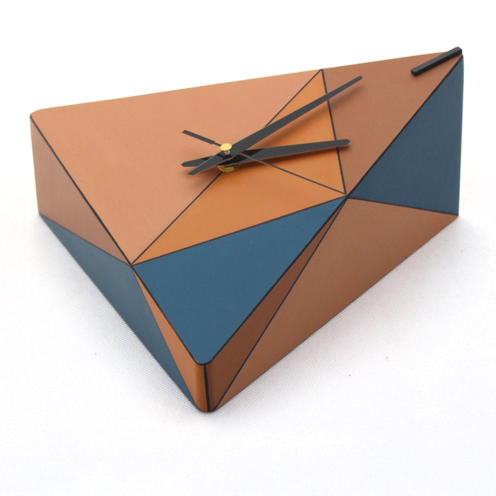 Geometric Wood Wall clock Triangle Brown Blue Orange clock Unique