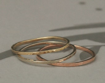 Super Skinny Stack Rings--Hammered Finish--Your Choice of One Ring in Solid 14K Rose, Yellow or White Gold