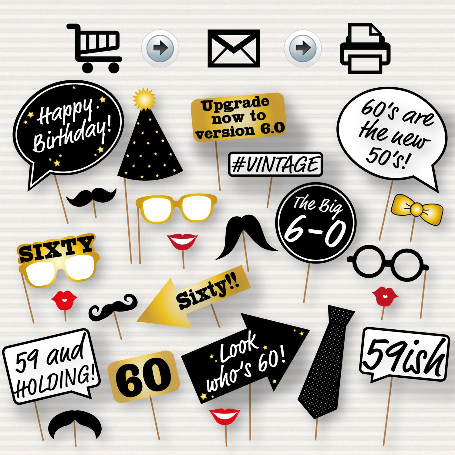 60th Birthday Party Printable Booth Props Glasses