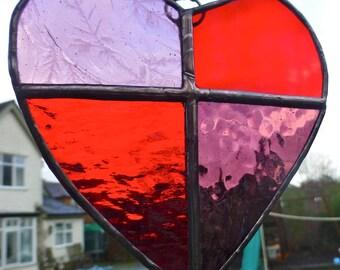 Red Stained Glass Love Heart Light Catcher - Sun Catcher - Valentine Love