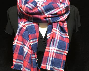 Red and Blue Plaid Blanket Scarf, Winter Scarf,Gift for her, Blanket Scarf, Flannel, Warm Scarf,Red Scarf, Plaid Scarf, Red plaid Scarf, Red
