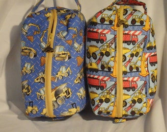 Construction Bag, Truck Bag, Moisture Proof Ditty Bag, Toiletry Kit, Pencil Case, Zip Pouch, Cosmetics Pouch, Gifts for Boys - Choose Fabric
