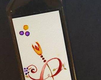 Original Watercolor Bookmark - Illuminated C