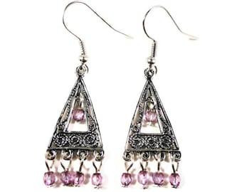 Purple Chandelier Earrings, Lilac Pink-Purple Glass Bead Earrings, Beaded Earrings, Triangle Earrings, Beadwork Earrings, Women's Jewelry