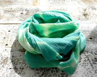 Kelly Green Scarf - Hand Dyed Cotton Shibori - 25 x 68 inches