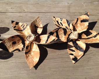 """Extra Large 6"""" - 7"""" Authentic Tapa Cloth Flower Hair Clip. Tapa Cloth Hair Clip Is Perfect For Luau, Wedding, Gift Or Any Polynesian Dancers"""