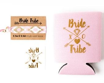 Blush Pink Bride Tribe Bachelorette Gift Set   Metallic Gold Tattoo, Hair Tie + Drink Cooler   Light Pink + Gold Bachelorette Party Favors