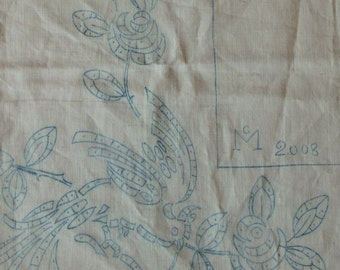 CANVAS of flax former printed embroidery