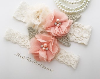 Garters for wedding, flower garter, wedding garter, bridal garter, garter belt, wedding garter belt, peach wedding garter, vintage garters