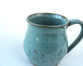 Carved turquoise mug, Coffee mug, Ceramic mug