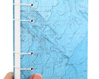Map Journal - Unlined Journal - Bathymetric Chart Journal #6, handmade by Ruth Bleakley out of Nautical Charts - 160 pages