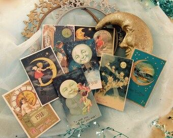 Vintage New Year's MOON-themed fortunes, SET OF 8, party favor, fortune teller