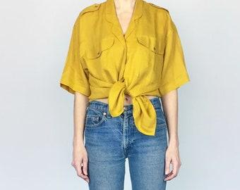 Mustard Linen Oversized Button Down Shirt (L)